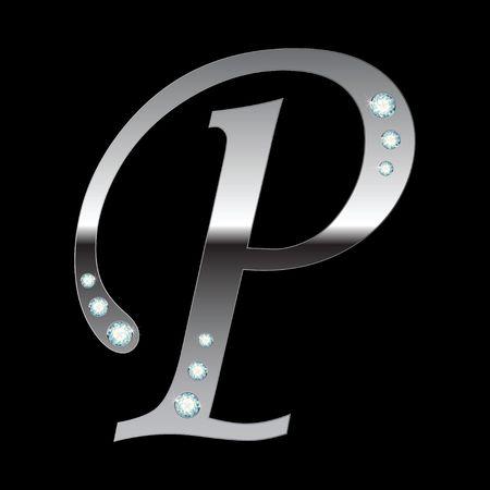 plata metálico letra P con rayas aislados