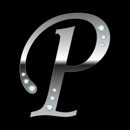 silver metallic letter P with stripes isolated