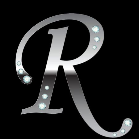 silver metallic letter R with stripes isolated