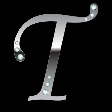 silver metallic letter T with stripes isolated Vector