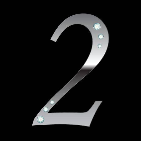 silver metallic number two with stripes isolated Vector
