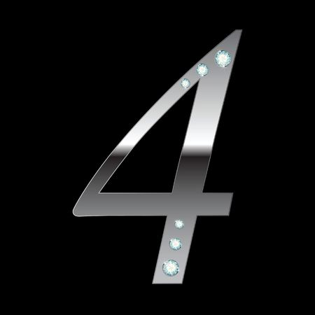 cijfer vier: silver metallic number four with stripes isolated