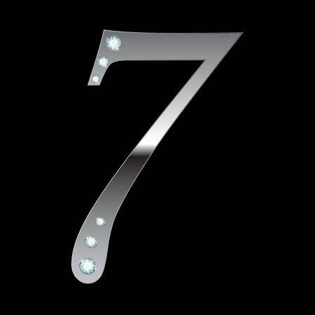 number seven: silver metallic number seven with stripes isolated