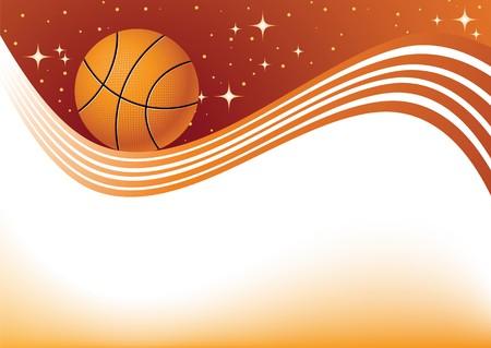 cancha de basquetbol: elemento de dise�o de baloncesto, un fondo naranja abstracto Vectores