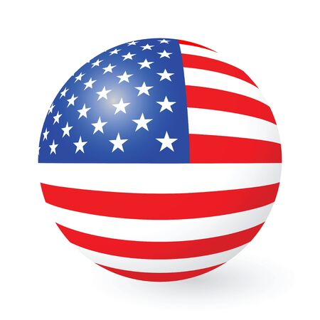 imperialism: illustration of a Stars and Stripes button and sticker Illustration