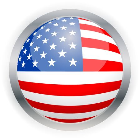 imperialism: North American USA flag button, Isolated illustration.