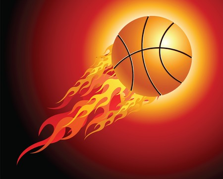 basketball ball in fire: Fiery basketball ball flying upwards on a black background Illustration
