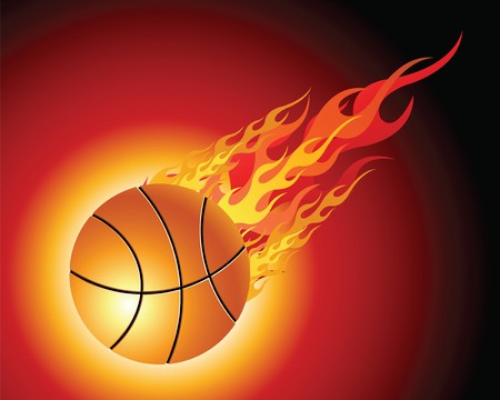 basketball ball in fire: Fiery basketball ball flying downwards on a black background