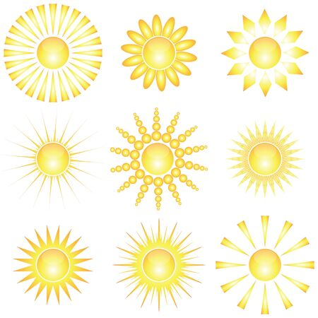 set of abstract glossy sun collection. Decorative sun symbols. Stock Vector - 7166652