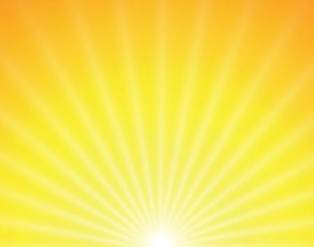 daybreak: sol sobre fondo amarillo con rayas de color naranjas