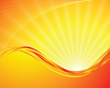 sunbeams: sun on yellow background with orange rays Illustration