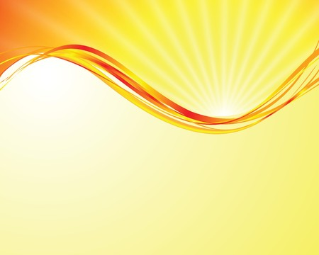 sun on yellow background with orange rays 向量圖像