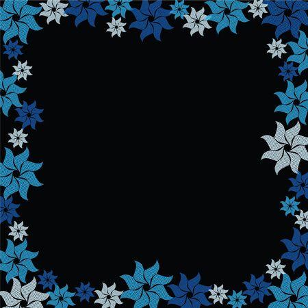 blue flower burst on black background Stock Vector - 7503702