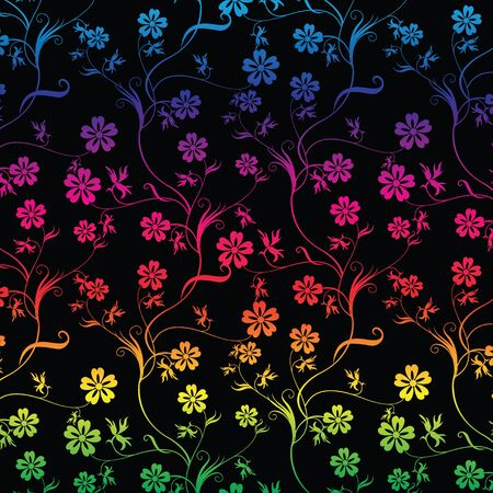 Seamless colorful floral on black background Stock Vector - 7503680