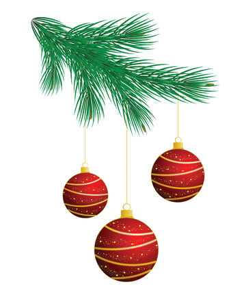 christmas tree branch with red balls Vector