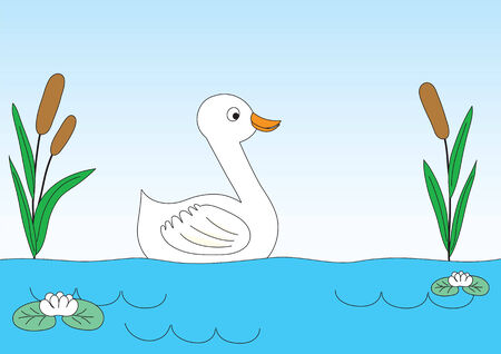 Duck on lake with canes and water-lilies. Childrens drawing. Vector