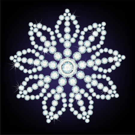 Snowflake made from diamonds. the  illustration Vector