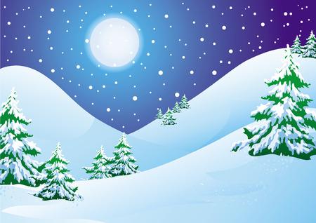 boule de neige: Paysage hivernal de nuit : neige de collines et pins