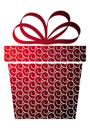 Christmas illustration with gift box on red Stock Vector - 8189185