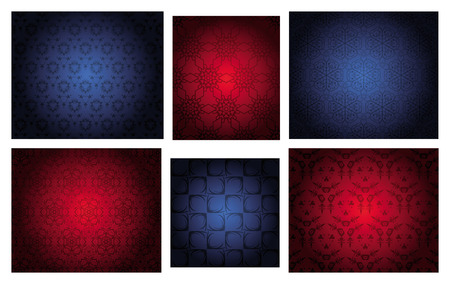 snoflake: Four  seamless repeat patterns with floral elements and snowflakes, of red and blue Christmas colors.
