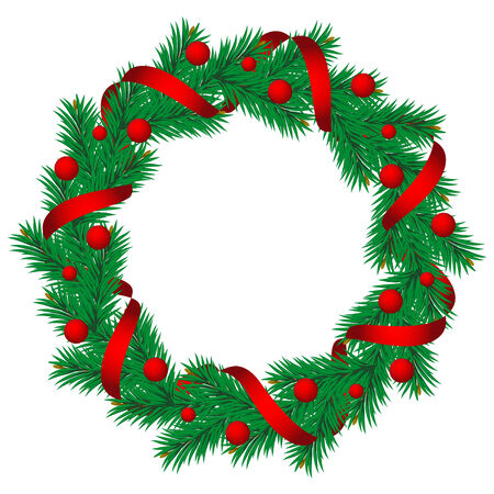 pine wreath: Christmas pine garland decorated with red and golden ribbons.