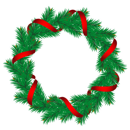 christmas wreath: Christmas pine garland decorated with red and golden ribbons.