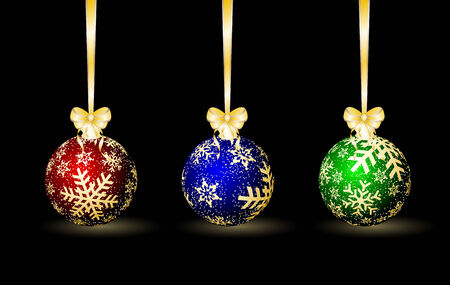 Three colored Christmas spheres on a black background Vector