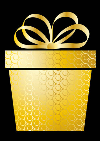 Christmas illustration with gift box on gold Stock Vector - 8259467