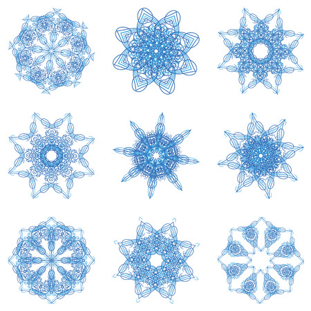 openwork: Abstract Christmas snowflake consisting of set of elements