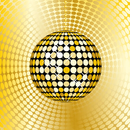abstract gold disco ball on a red mosaic background