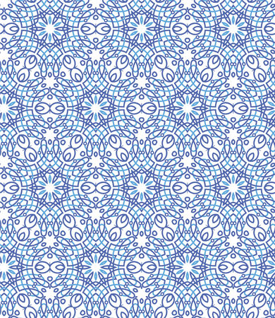 openwork: Seamless pattern. A blue ornament on a white background