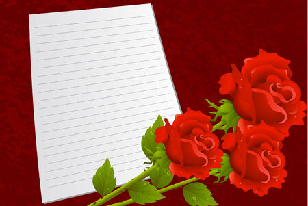 dekor: Background by the Valentines day with red roses Illustration