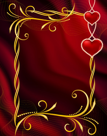 dekor: Background by the Valentines day with red hearts  Illustration