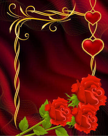 Background by the Valentines day with red roses Vector