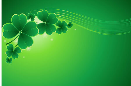 clover banners: design for St. Patricks Day with four and three leaf clovers Illustration
