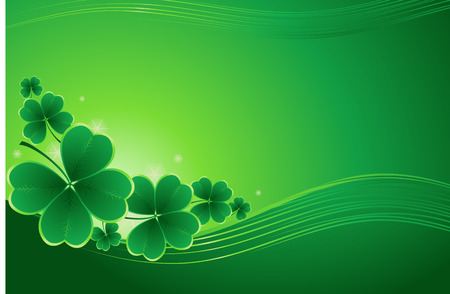 design for St. Patricks Day with four and three leaf clovers Vector