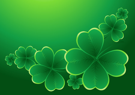 clover leaf shape: design for St. Patricks Day with four and three leaf clovers Illustration
