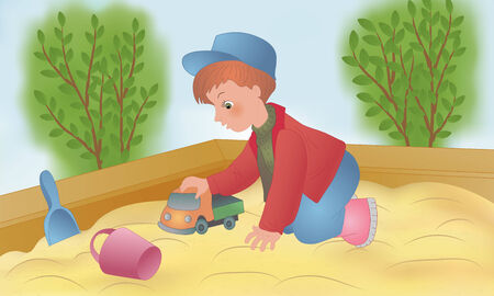sandbox: The child is played in a sandbox with toys Illustration