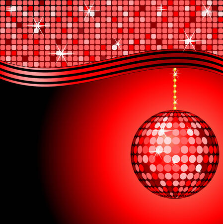 abstract red disco ball on a red mosaic background Vector