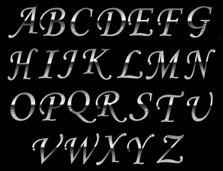 Chrome typeface Gray. File contains graphic styles available in the Illustrator Vector