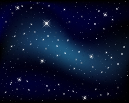 sky stars: Sparkling nights sky with stars and dark space view  Illustration