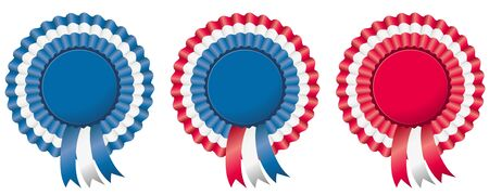 4th of july independence day rosette or badge in american flag colors.  Vector