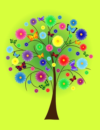 Abstract flower tree with colored butterflies Banco de Imagens - 9720101