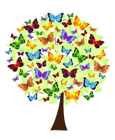 Abstract flower tree with colored butterflies