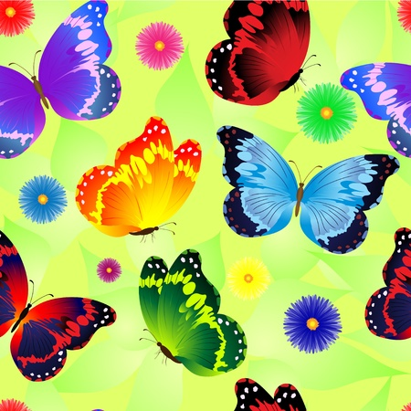 summer floral seamless pattern with butterfly Vector