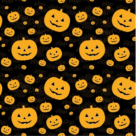 Seamless pattern with orange  pumpkins on black background.