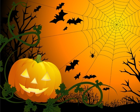 Drawing by day halloween with a pumpkin, a web and bats