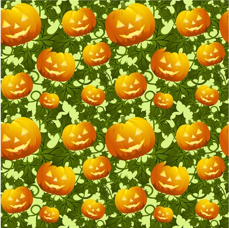 gourd: Seamless background with pumpkins in orange color