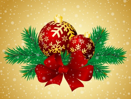 pine needles: Christmas background with spheres and fur-tree branches.