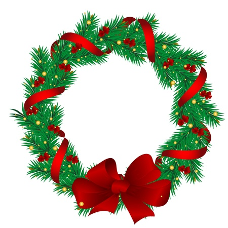 christmas wreath: Christmas garlands of the pine decorated with red tapes.